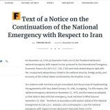 آمریکا «وضعیت اضطرار ملی» در قبال ایران را برای یکسال دیگر تمدید کرد